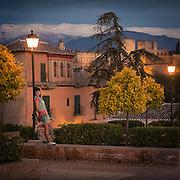 Posing under a street lamp in the Albaicin.