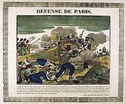 The Defence of Paris, 30 March 1814.  The French defending Paris against Russian, Austrian and Prussian forces. Popular French hand-coloured woodcut.