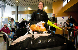 Slovenian biathlon athlete Teja Gregorin at arrival to Airport Joze Pucnik from Vancouver after Winter Olympic games 2010, on February 26, 2010 in Brnik, Slovenia. (Photo by Vid Ponikvar / Sportida)