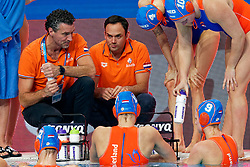 21-01-2020 HUN: European Water polo Championship, Budapest <br /> Slovakia - Netherlands 2—32 / Ass. Coach Evangelos Doudesis, Coach Arno Havenga during LEN European Aquatics Waterpolo on January 21, 2020. SVK vs Netherlands in Duna Arena in Budapest, Hungary