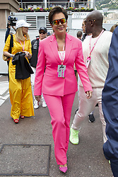 Kriss Jenner, Corey Gamble stroll along the pit lane at the 77th Monaco Grand Prix, Monaco on May 26th, 2019. Photo by Marco Piovanotto/ABACAPRESS.COM