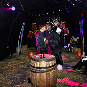 Jordan Charles  and his boyfriend kissing at the preview PhoboPhobia Live Halloween Show on 10th October 2019, at The London Bridge Experience & London Tombs, London, UK.