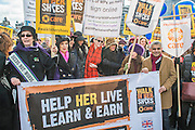 The March is led off by Helen Pankhurst, Bianca Jagger, Sister Sledge, Annie Lennox and Sadiq Khan - 'Walk in Her Shoes' a mother's day march in solidarity with women and girls around the world and in advance of International Womens Day this week - CARE International's Walk In Her Shoes event led by Helen Pankhurst, her 21-year old daughter Laura Pankhurst, music legend Annie Lennox, Bianca Jagger, comedian Bridget Christie, Secretary of State for International Development Justine Greening, London Mayoral candidates Sadiq Khan and Sophie Walker and a group of 'Olympic Suffragettes' in Edwardian clothing with banners. They were also joined by Sister Sledge.