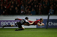 Hadleigh Parkes  of Scarlets dives over and  scores his teams 2nd try. EPCR European Champions cup match, Scarlets v RC Toulon at the Parc y Scarlets in Llanelli, West Wales on Saturday 20th January 2018. <br /> pic by  Andrew Orchard, Andrew Orchard sports photography.