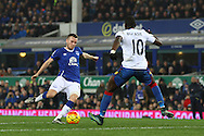 Tom Cleverley of Everton attemps a shot at goal but sees it blocked.  Barclays Premier league match, Everton v Crystal Palace at Goodison Park in Liverpool, Merseyside on Monday 7th December 2015.<br /> pic by Chris Stading, Andrew Orchard sports photography.
