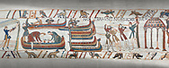 Bayeux Tapestry scene 36: The Normans launch an invasion fleet .<br /> <br /> If you prefer you can also buy from our ALAMY PHOTO LIBRARY  Collection visit : https://www.alamy.com/portfolio/paul-williams-funkystock/bayeux-tapestry-medieval-art.html  if you know the scene number you want enter BXY followed bt the scene no into the SEARCH WITHIN GALLERY box  i.e BYX 22 for scene 22)<br /> <br />  Visit our MEDIEVAL ART PHOTO COLLECTIONS for more   photos  to download or buy as prints https://funkystock.photoshelter.com/gallery-collection/Medieval-Middle-Ages-Art-Artefacts-Antiquities-Pictures-Images-of/C0000YpKXiAHnG2k