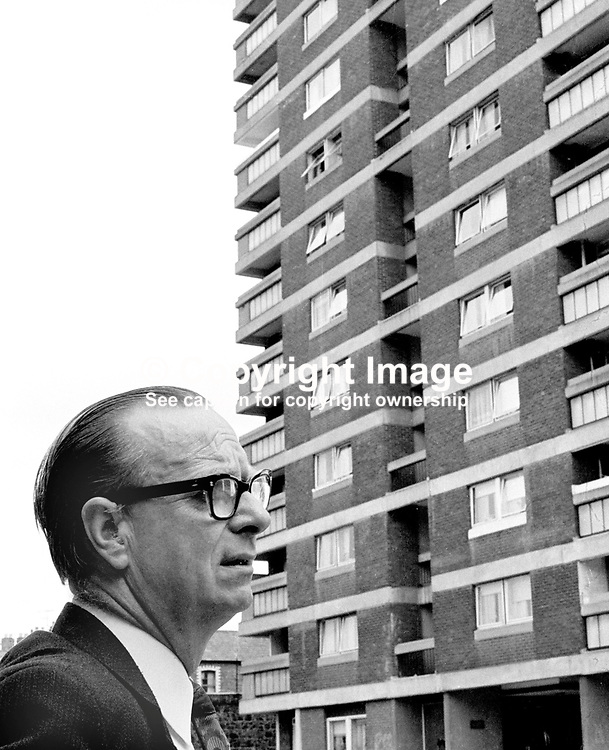Gerry Fitt, an SDLP candidate in the N Ireland Assembly Election, contemplates climbing a lot of stairs and knocking a lot of doors at one of the multi-storey apartment blocks in his constituency.  He went on to win an assembly seat and became deputy chief executive of the short-lived Power-Sharing Executive created by the Sunningdale Agreement. 197306230444a<br /> <br /> Copyright Image from Victor Patterson, Belfast, UK<br /> <br /> t: +44 28 9066 1296 (from Rep of Ireland 048 9066 1296)<br /> m: +44 7802 353836<br /> e: victorpattersonbelfast@gmail.com<br /> <br /> www.images4media.com<br /> <br /> Please see my full Terms and Conditions of Use at https://www.images4media.com/p/terms-conditions - it is IMPORTANT that you familiarise yourself with them.<br /> <br /> Images used online incur an additional cost. This cost should be agreed in writing in advance. Online images must be visibly watermarked i.e. © Victor Patterson or that of the named photographer within the body of the image. The original metadata must not be deleted from images used online.<br /> <br /> This image is only available for the use of the download recipient i.e. television station, newspaper, magazine, book publisher, etc, and must not be passed on to a third party. It is also downloaded on condition that each and every usage is notified within 7 days to victorpattersonbelfast@gmail.com.<br /> <br /> The right of Victor Patterson (or the named photographer) to be identified as the author is asserted in accordance with The Copyright Designs And Patents Act (1988). All moral rights are asserted.
