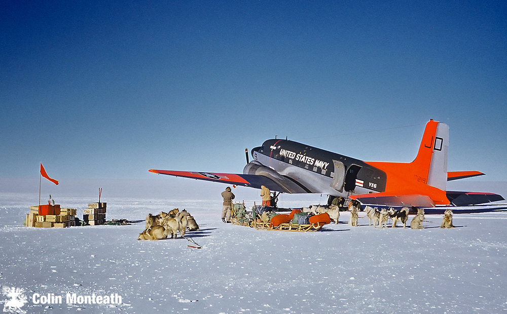 NZARP Party unloads at head of Mill Glacier at 2700 m on Polar Plateau, -32 C,  November 1961,