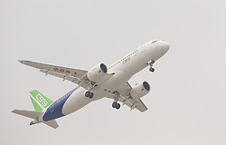 SHANGHAI, May 5, 2017  China's homegrown large passenger plane C919 makes its maiden flight in Shanghai, east China, May 5, 2017.  mcg) (Credit Image: © Ding Ting/Xinhua via ZUMA Wire)