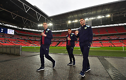 Burnley's (left-right) Ashley Barnes, Ashley Westwood and Sam Vokes inspect the pitch