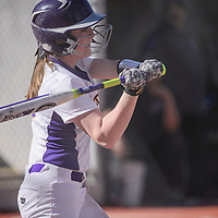 Kirtland Central Bronco Andrea Weaver (3) swings at a pitch from the Miyamura Patriots Tuesday at Ford Canyon Park.
