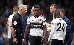 Fulham's Ryan Sessegnon with a facial injury during the Premier League match at Craven Cottage, London.