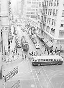 Y-480722-05. Portland SW Washington & 5th looking west. Trolley 539 NW 23rd. July 22, 1948