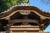 Chokokuji Temple Gate and Bas Relief Wooden Carvings - Chokoku-ji is a vast temple compound of Rinazai sect of Zen Buddhism in Saitama, just north of Tokyo.  It was once associated with the Ashikaga and Tokugawa  families and is now a part of Kenchoji Kamakura branch of Rinzai.  Rather than a mere tourist attraction, it is an active temple and monastery despite the fact that it is a very attractive place with landscaped Japanese gardens, an impresive gate with carved wooden bas reliefs.  Behind the main hall there is an expansive Zen garden, though it is rarely open to visitors but can be seen from the side of the building.