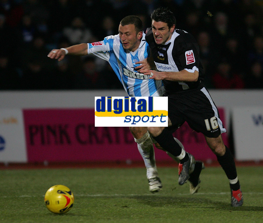 Photo: Frances Leader.<br />Brighton & Hove Albion v Derby County. Coca Cola Championship. 26/11/2005.<br />Brighton's Gary Hart (L) and Derby's Marc Edworthy run for the ball just before Edworthy is fouled and Derby get a penalty kick at goal which they miss.
