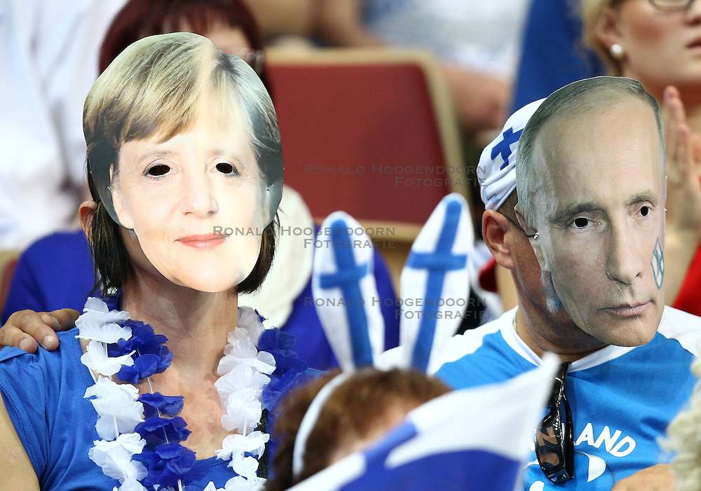 06.09.2014, Spodek, Katowice, POL, FIVT WM, Finnland vs Deutschland, Gruppe B, im Bild SUPPORTERS FANS OF FINLAND ANGELA MERKEL WLADIMIR PUTIN // during the FIVB Volleyball Men's World Championships Pool B Match beween Finland and Germany at the Spodek in Katowice, Poland on 2014/09/06. <br />