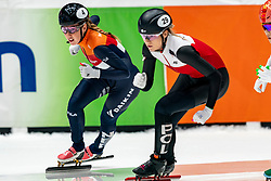 Lara van Ruijven, Natalia Maliszewska POL in action on the 1000 meter during ISU World Cup Finals Shorttrack 2020 on February 15, 2020 in Optisport Sportboulevard Dordrecht.