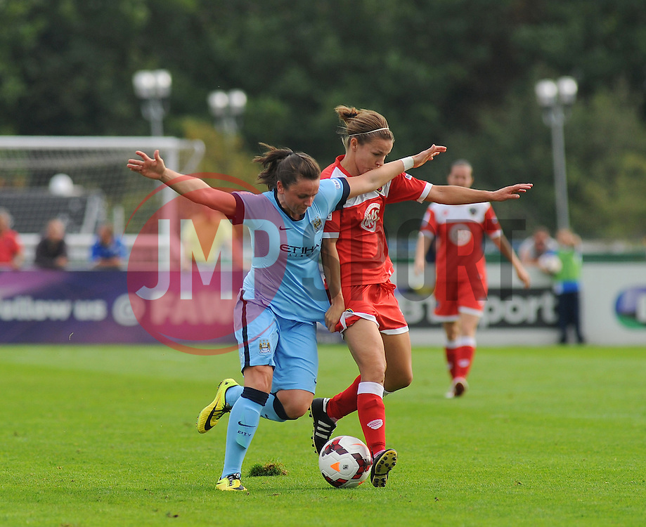 Manchester City Womens' Natasha Flint challenges for possession. - Photo mandatory by-line: Nizaam Jones- Mobile: 07583 387221 - 28/09/2014 - SPORT - Women's Football - Bristol - SGS Wise Campus - BAWFC v Man City Ladies - sport