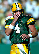 Green Bay's Brett Favre after his 4th and 8-yard pass was thrown incomplete. Favre had a intentional grounding on the play...The Green Bay Packers hosted the Chicago Bears at Lambeau Field Sunday, September 19, 2004. WSJ/Steve Apps.