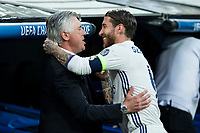 coach Carlo Ancelotti of FC Bayern Munchen and Sergio Ramos of Real Madrid during the match of Champions League between Real Madrid and FC Bayern Munchen at Santiago Bernabeu Stadium  in Madrid, Spain. April 18, 2017. (ALTERPHOTOS)