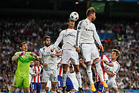 Real Madrid's Cristiano Ronaldo and Sergio Ramos during quarterfinal second leg Champions League soccer match at Santiago Bernabeu stadium in Madrid, Spain. April 22, 2015. (ALTERPHOTOS/Victor Blanco)