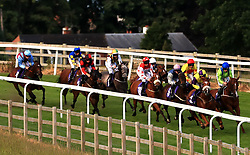 Rampart Lion ridden by Joe Fanning (right) leads the field round the final bend of The Tecknodev Handicap Stakes at Beverley Racecourse.