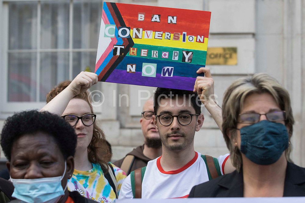 Campaigners against LGBT+ conversion therapy attend a picket outside the Cabinet Office and Government Equalities Office on 23rd June 2021 in London, United Kingdom. Represented by LGBT+ and human rights campaigner Peter Tatchell, Revd Colin Coward and Jayne Ozanne of the Ban Conversion Therapy Coalition, they also handed in a petition signed by 7,500 people calling on the government to fulfil its promise made in July 2018 to ban LGBT+ conversion therapy. LGBT+ conversion treatments, which have been linked to anxiety, depression and self-harm, have been condemned by major UK medical, psychological and counselling organisations.