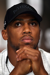 Anthony Joshua during a press conference at Wembley Stadium.