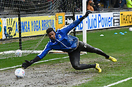 Jamal Blackman (21) of Bristol Rovers warming up ahead of the EFL Sky Bet League 1 match between Bristol Rovers and Blackpool at the Memorial Stadium, Bristol, England on 15 February 2020.