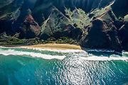 Kalalau Beach, seen through helicopter windshield along Na Pali Coast, island of Kauai, Hawaii, USA.