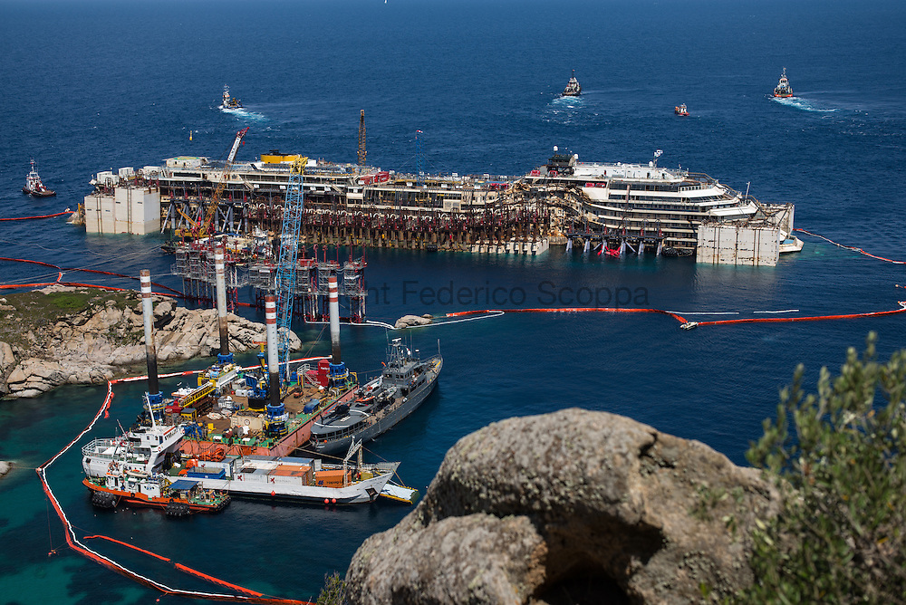 The ship from the hill of the Giglio island