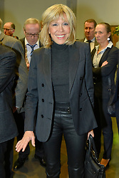 Brigitte Trogneux, wife of Emmanuel Macron. Former French Economy Minister, founder and president of political movement 'En Marche !' and candidate for the 2017 presidential election, Emmanuel Macron awards former CCI Picardy President Jacky Lebrun with the tie of the order of Commandeur de la Legion d'Honneur during a ceremony at 'Carre de la Republique' in Amiens, France on November 25, 2016. Photo by Edouard Bernaux/ABACAPRESS.COM  | 572675_032 Amiens France