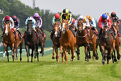Crack On Crack On ridden by David Probert (centre right) goes on to win the Amix Silver Bowl Handicap Stakes (Class 2) at Haydock Park Racecourse.