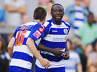 Damion Stewart (QPR) celebrates his winning goal with Matthew Connolly. Queens Park Rangers v Sheffield Wednesday  13/04/2009  : Colorsport / Andrew Cowie