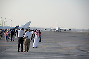 Dubai 2005, 9th International Aerospace Exhibition..First appearance of the new Airbus A380 in the Middle East and in the livery of its biggest buyer Emirates Airlines (45 planes ordered to date). Taxiing for takeoff.