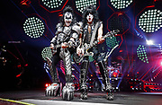 Gene Simmons and Paul Stanley of the rock band KISS perform during their concert at Bridgestone Arena Tuesday, April 9, 2019, in Nashville, TN.