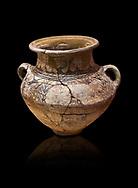 Phrygian two handled amphora vessel decorated with geometric designs. 8th-7th century BC . Çorum Archaeological Museum, Corum, Turkey .<br /> <br /> If you prefer to buy from our ALAMY PHOTO LIBRARY  Collection visit : https://www.alamy.com/portfolio/paul-williams-funkystock/phrygian-antiquities.html (TIP - Refine search by adding a suject or background colour as well).<br /> <br /> Visit our CLASSICAL WORLD HISTORIC SITES PHOTO COLLECTIONS for more photos to download or buy as wall art prints https://funkystock.photoshelter.com/gallery-collection/Classical-Era-Historic-Sites-Archaeological-Sites-Pictures-Images/C0000g4bSGiDL9rw