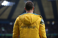Australia's Quade Cooper watching on as Scotland are beating Australia during the Rugby World Cup Quarter Final match between Australia and Scotland at Twickenham, Richmond, United Kingdom on 18 October 2015. Photo by Matthew Redman.
