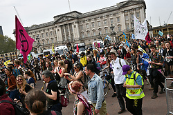 © Licensed to London News Pictures. 23/04/2019. London, UK. Members of the Extinction Rebellion climate change protest group march past Buckingham Palace on their way to Parliament Square. The city wide protest which started eight days ago has now reduced in size to a smaller group after police arrested more than 1000 demonstrators as they blockaded major traffic intersections. Photo credit: Ben Cawthra/LNP