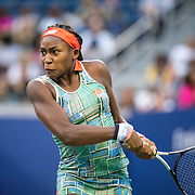 2019 US Open Tennis Tournament- Day Two. Coco Gauff of the United States in action against Anastasia Potapova of Russia in the Women's Singles Round One match on Louis Armstrong Stadium at the 2019 US Open Tennis Tournament at the USTA Billie Jean King National Tennis Center on August 27th, 2019 in Flushing, Queens, New York City.  (Photo by Tim Clayton/Corbis via Getty Images)