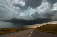 A severe thunderstorm rolls across the grasslands near Aberdeen, Montana.