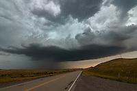 A severe thunderstorm rolls across the grasslands near Aberdeen, Montana.