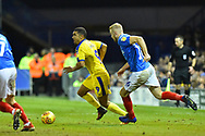 Kwesi Appiah (9) of AFC Wimbledon on the attack during the EFL Sky Bet League 1 match between Portsmouth and AFC Wimbledon at Fratton Park, Portsmouth, England on 1 January 2019.