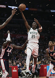 November 10, 2018 - Los Angeles, California, U.S - Tony Snell #21 of the Milwaukee Bucks goes for a layup during their NBA game with the Los Angeles Clippers on Saturday November 10, 2018 at the Staples Center in Los Angeles, California. Clippers defeat Bucks in OT, 128-126. (Credit Image: © Prensa Internacional via ZUMA Wire)