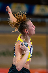 Marijke Esselink in action on shot put during the Dutch Athletics Championships on 14 February 2021 in Apeldoorn