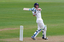 Middlesex's Nick Gubbins pulls the ball off the bowling of Somerset's Jamie Overton. - Photo mandatory by-line: Harry Trump/JMP - Mobile: 07966 386802 - 27/04/15 - SPORT - CRICKET - LVCC Division One - County Championship - Somerset v Middlesex - Day 2 - The County Ground, Taunton, England.