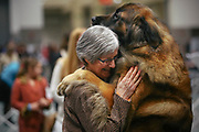 Barbara Powell, of Whidbey Island, celebrates with her Leonberger Echo, after Echo won Best of Breed during the Seattle Kennel Club Dog Show, Sunday, March 13, 2016.    The show featured 1,400 dogs and 169 different breeds.