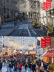 © Licensed to London News Pictures. 20/12/2020. London, UK. Comparison picture showing Regent street deserted after opening time today, Sunday (TOP) and the same scene yesterday, Saturday (BOTTOM). The morning after tier 4 restrictions were imposed on London, to stop the spread of COVID-19. None essential shops have been forced to closed under the new rules, stopping the annual rush for last minute shopping. Photo credit: Peter Macdiarmid/Ben Cawthra/LNP
