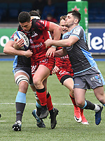 Rugby Union - 2018 / 2019 European Rugby Champions Cup - Pool Three: Cardiff Blues vs. Lyon<br /> <br /> Adrien Seguret, of Lyon attacks , at Cardiff Arms Park.<br /> <br /> COLORSPORT/WINSTON BYNORTH