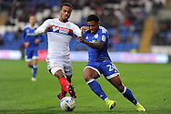 Cardiff City's Kadeem Harris (r) takes on Wigan's Nathan Byrne. EFL Skybet championship match, Cardiff city v Wigan Athletic at the Cardiff city stadium in Cardiff, South Wales on Saturday 29th October 2016.<br /> pic by Carl Robertson, Andrew Orchard sports photography.